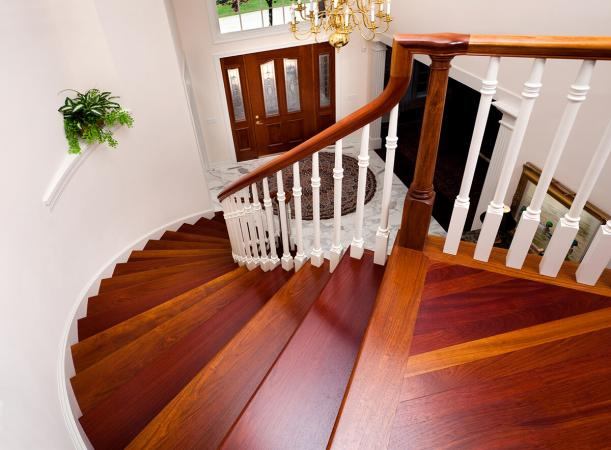 Winding hardwood staircase