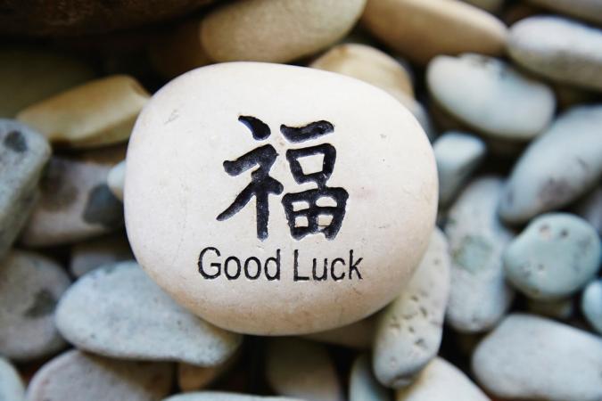 Chúc may mắn trong chữ Trung Quốc trên đá