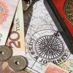 Tiền xu Trung Quốc và la bàn phong thủy