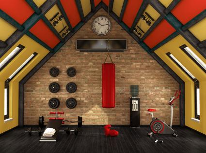 Điểm nhấn màu đỏ trong phòng tập thể dục tại nhà