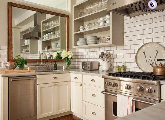 gương trong bếp