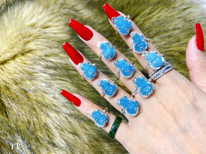 Nhẫn tỳ hưu đá Aquamarine xanh bọc bạc giá 550k