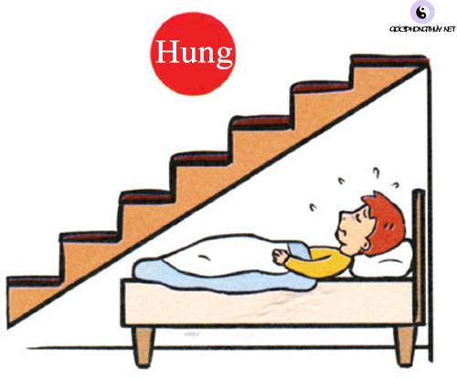 giường ngủ nằm dưới cầu thang