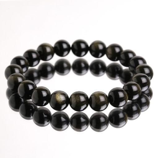 Vòng Tay Đá Obsidian Mix Tỳ Hưu Vàng Mệnh Thủy , Mộc 2