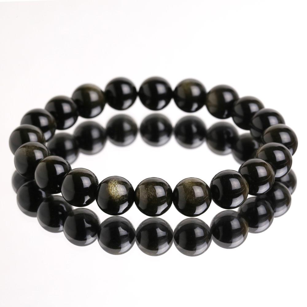Vòng Tay Đá Obsidian Mix Tỳ Hưu Vàng Mệnh Thủy , Mộc 3