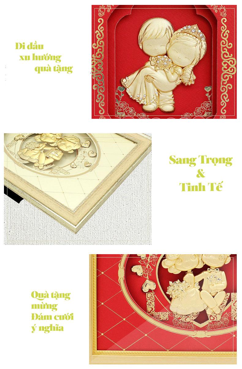 Tranh Dat Vang 24k Mung Dam Cuoi Co Dau Chu Re (2)