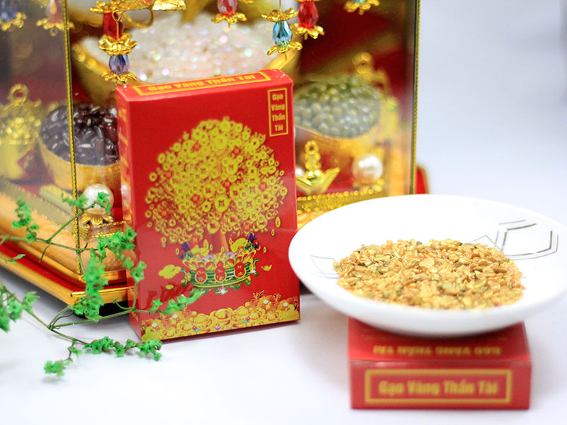 Mua Gạo Vàng Thần Tài ở đâu ? Gạo Vàng Thần Tài là một vật phẩm may mắn được thiết kế và sản xuất bởi Phong Thủy Tam Nguyên
