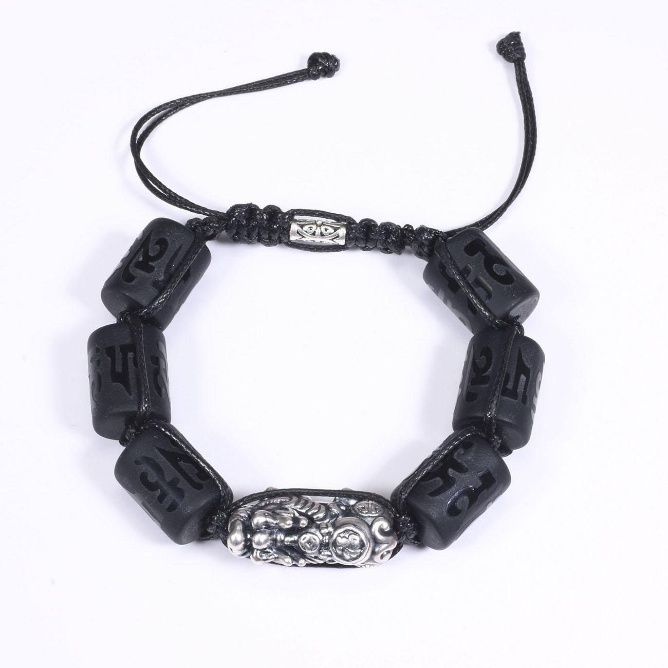 Vòng Tay Đá Obsidian Đốt Trụ Lục Tự Đại Minh Chú Mix Tỳ Hưu Bạc 16X12Mm Mệnh Thủy, Mộc - 1